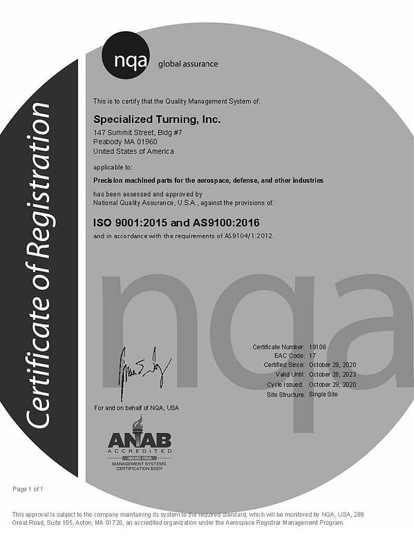 AS9100 Certification for Specialized Turning